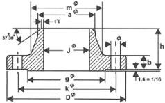 weld neck flange diagram